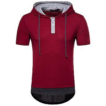 YANGFAN Men's Hip Hop Arc Short Sleeve Hooded T-shirt