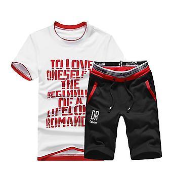 Summer Mens Sets, Short Sleeve Print Tracksuit, Men Sportswear, Casual