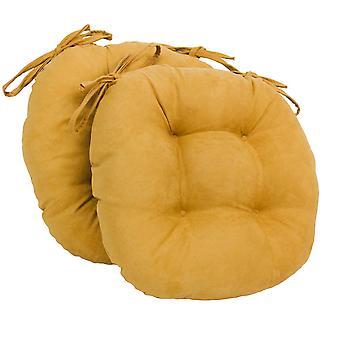 Coussins de chaise touffu rond en daim massif de 16 pouces (ensemble de 2) - citron