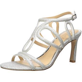 Jewel Badgley Mischka Women's SIMBA Sandal, Silver, 7 M US