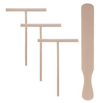 4pcs panqueque cocina utensilios de madera Crepe Esparcidor Spatula Tortilla Rake Herramientas