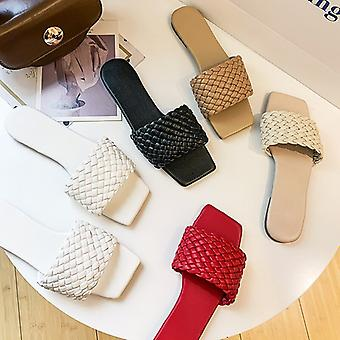 Fashion Temperament Braided Charm Open-toe Flat Slippers Set Foot Vacation Beach Sandals Casual Women Shoes