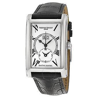 Frederique Constant Classics Carree Silver Dial Black Leather Strap Men's Watch 325MS4C26
