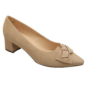 Peter Kaiser Beige Suede Leather Low Block Heel Court Shoe With Bow