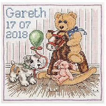 Anchor Counted Cross Stitched Kit ACS48 Teddy Birth Sampler New 18x18cm