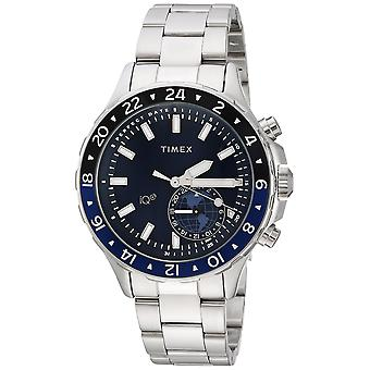 Timex Mens IQ + flytte multi-tid sølv-Tone/blå rustfritt stål armbånd Watch TW2R39700