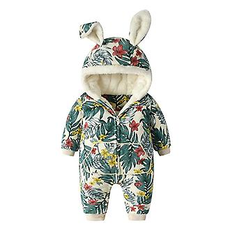 Baby Winter Hooded, Floral Snowsuit, Newborn Thick Romper With Rabbit Ear,