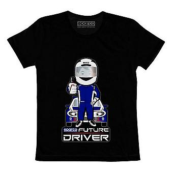 Child's Short Sleeve T-Shirt Sparco Future Racer (Size 5-7 Years) Black