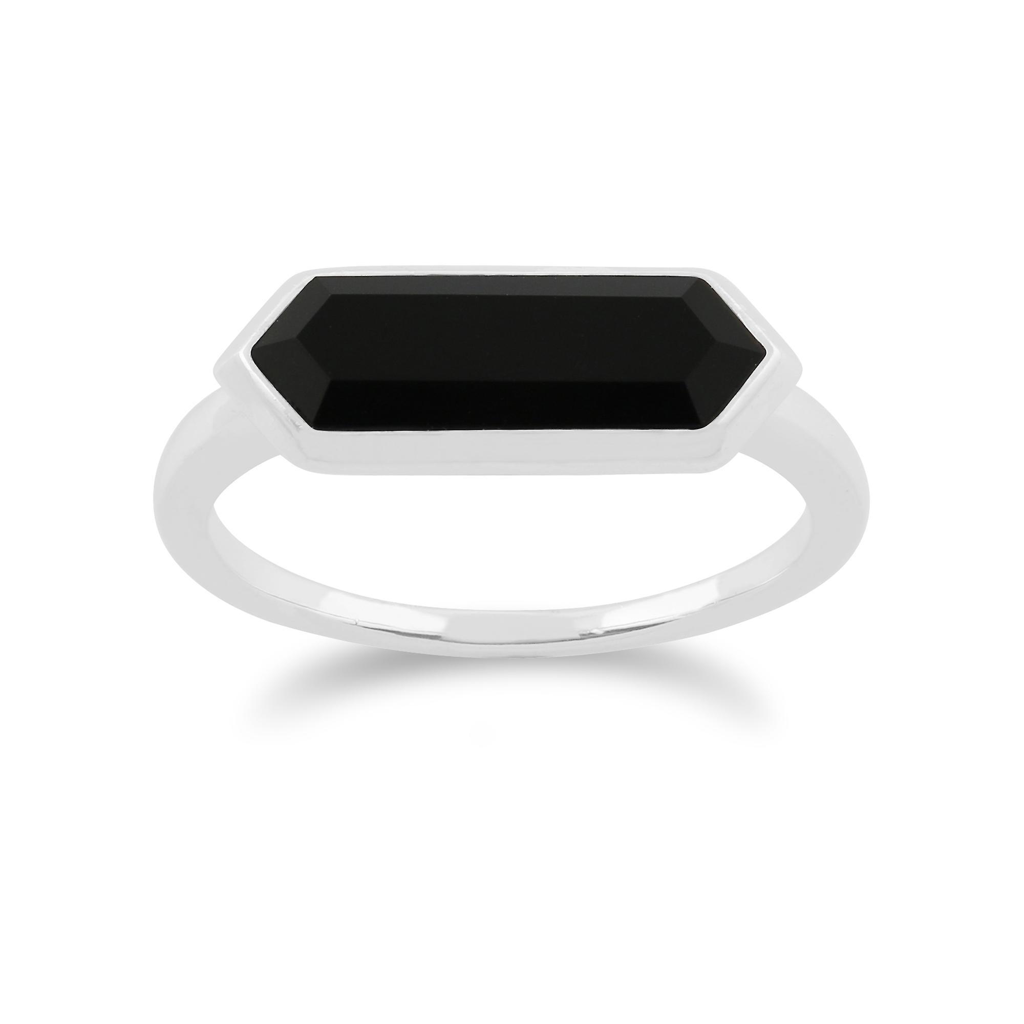 Gemondo 925 Sterling Silver 1.50ct Black Onyx Hexagonal Prism Ring