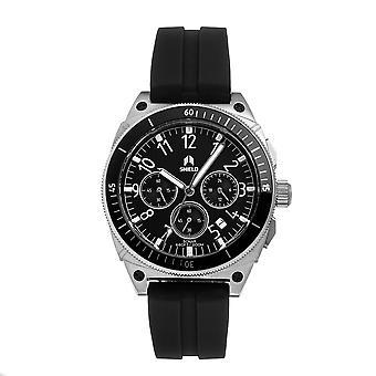 Shield Sonar Chronograph Strap Watch w/Date - Black/Silver