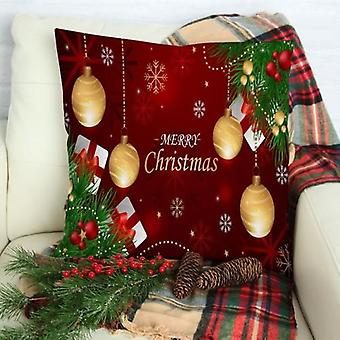 Christmas Ornaments, Branches With Red, Gold Cushion Pillow, Decorate Case