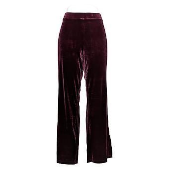 Susan Graver Women's Pants Stretch Velvet Pants w/ Side Slits Red A345010