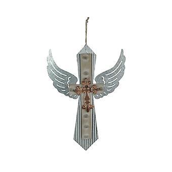 Galvaniserad metallvingad korshandgjord dekorativ rustik hängande väggdekor