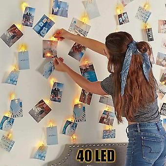 FengChun LED Fotoclips Lichterkette fr Zimmer, 4.5M 40 LED Lichterkette Batteriebetriebene Mit 40