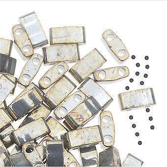 Miyuki Half Tila 2 Hål Rektangel pärlor 5x2.3mm - Galvanized Gray Luster 7.8 Grams