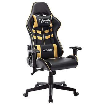 vidaXL Gaming Chair Zwart en Goud Faux Leather