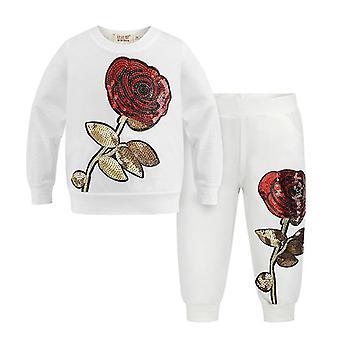 White 6t big rose pattern kids clothing sets autumn winter toddler tracksuit cai954