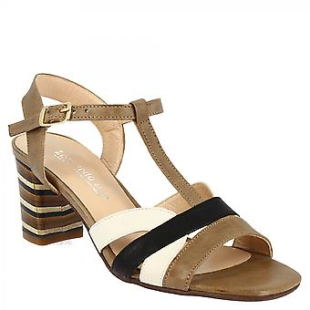 Leonardo Shoes Women's handmade heels sandals in taupe black and white calf leather