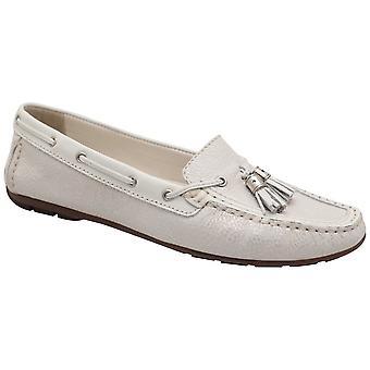 Lisa Kay White Flat Slip On Moccasin Shoe With Toggle Detail