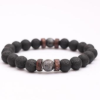 Vintage Volcanic Stone Beaded Bracelet Matte Black Men Bracelet