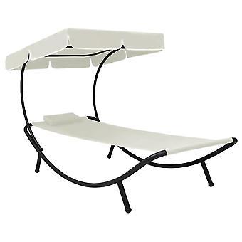 vidaXL chaises-soleil de jardin avec toit solaire & oreillers blanc crème