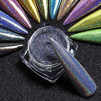 1 doos holographics nagel poeder zilver zwart kleurrijke glitter pailletten gel polish vlokken nail art decoratie voor manicure pigment