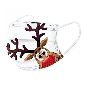 10pc Adult Christmas Reindeer Mouth Masks Disposable Cute Cartoons Face Masks 3 Layer Ply Masks Mascarillas Halloween Cosplay
