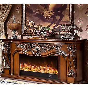 Wooden Mantel With Electric Fireplace Burner Led Optical Flame Decoration