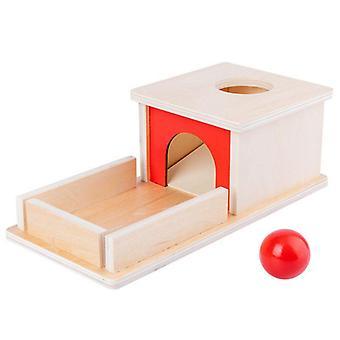 Caja de objetos de permanencia de madera con bandeja de aprendizaje de bolas Juguetes educativos tempranos para niños pequeños 