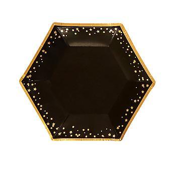 Glitz & Glamour Black & Gold Plate - Keskitaso - Tähdet