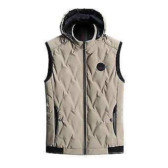 Homemiyn Heren Hooded Pluche Velvet Solid Color Warm Vest Vest (XL)(Khaki)