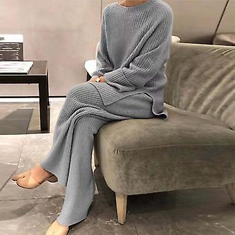 Hemkläder Kvinnor Mjuk 2-styckes set Höst vinter Solid O Neck Pullover Toppar Stickade Byxor Elegant Lady Pyjamas Home Suit
