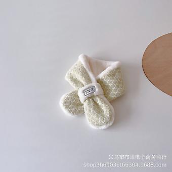 Small Fresh Rhomboid Plush Winter Warm Soft Cross Scarf For Children