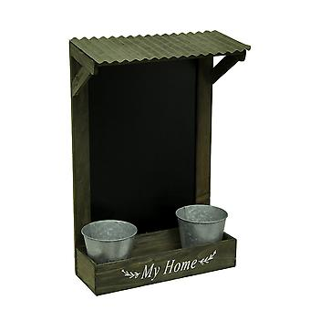 My Home Wooden Chalkboard Wall Hanging w/Shelf & Planters