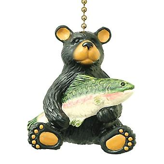 Black Bear with Fish Catch Nature Lover Decorative Ceiling Fan Pull