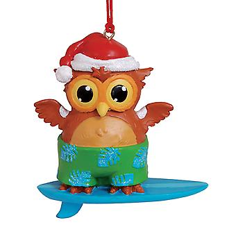 Surfing Owl in Santa Hat Beachy Coastal Christmas Holiday Ornament Cape Shore
