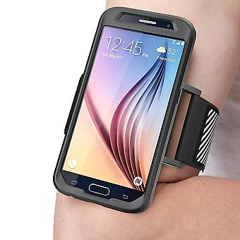 Galaxy S6 Armband, SUPCASE, Easy Fitting Sport Running Armband Flexible Case Combo for Samsung Galaxy S6 -Black