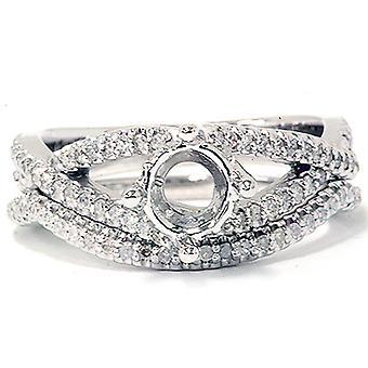 5 / 8ct Diamant Verlobung Hochzeit Ring Set 14K Weißgold