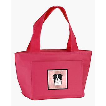 Carolines Treasures  BB1241PK-8808 Checkerboard Pink Border Collie Lunch Bag