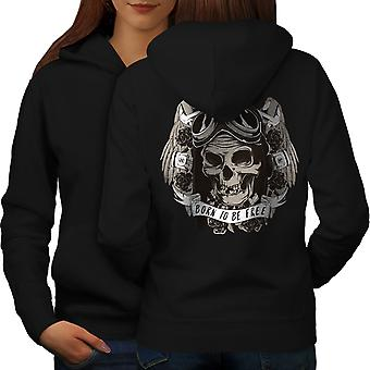 Born To Skull Free Biker Women BlackHoodie Back | Wellcoda