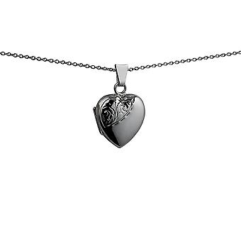 Sølv 17x16mm halv hånd graveret hjerteformet medaljon med en bremse kæde 24 inches