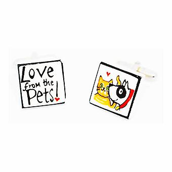 Sonia Spencer Love from the Pets Yellow Collar Cufflinks - English Bone China Hand Crafted