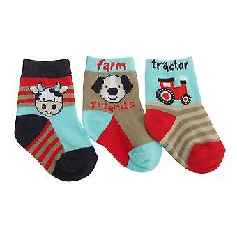 Baby Boys Animal Design Elasticated Socks (Pack Of 3)
