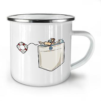 Save Life NEW WhiteTea Coffee Enamel Mug10 oz | Wellcoda
