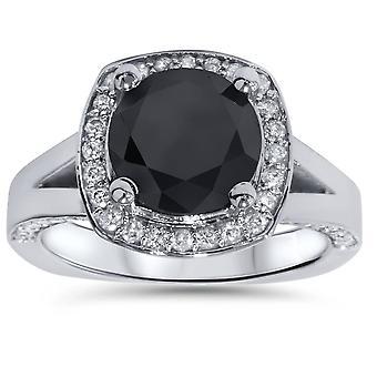 3 5/8 ct Black Diamond Halo Split chwytem pierścionek zaręczynowy 14K białe złoto