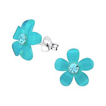 Flower - 925 Sterling Silver Crystal Ear Studs - W31469X