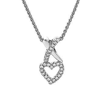 Orphelia kedja med hänge hjärta och Kiss 925 Silver med zirkonium ZH-7361