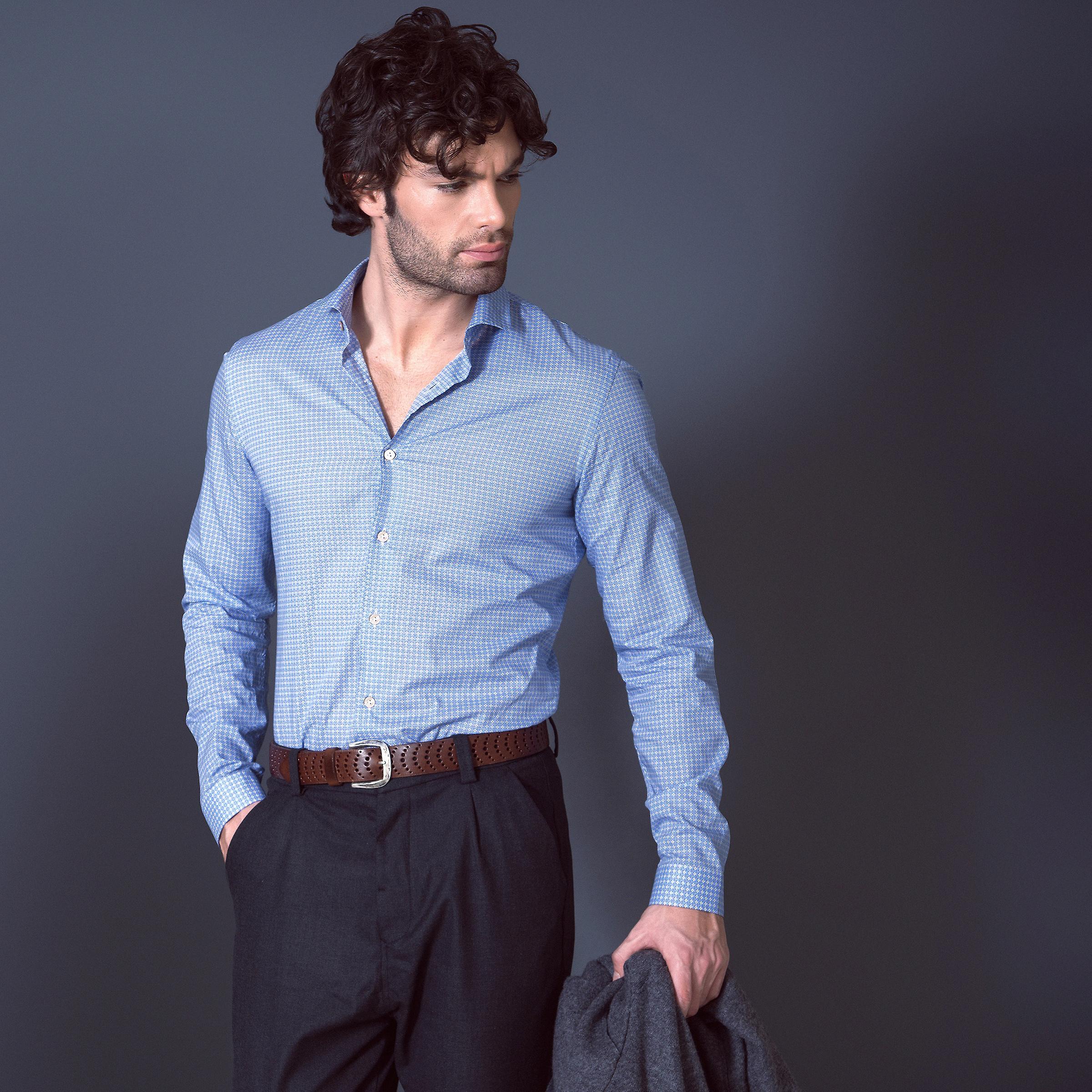 Fabio Giovanni Taranto Shirt - Super-Light Italian Poplin Cotton Geometric Print Shirt