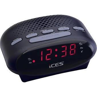 ICES ICR-210 Radio wekker FM Zwart