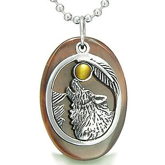 Amulet moed Howling Wolf Maan Lucky Charm in rode Tiger Eye Tiger Eye hanger ketting